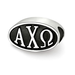 Alpha Chi Omega Sorority Black Oval Greek House Letters Bead in Sterling Silver