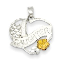 #1 Daughter Charm in 925 Sterling Silver