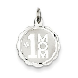 #1 Mom Disc Charm in 925 Sterling Silver