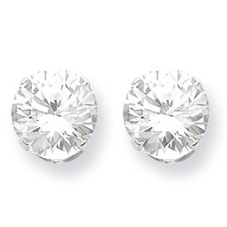 10mm Round Snap Set CZ Stud Earrings in 925 Sterling Silver