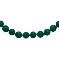 10-10.5mm Faceted Emerald Green Agate Necklace