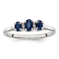 3 Oval Sapphire and Diamond Ring in 925 Sterling Silver
