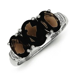 3 Pear Smokey Quartz and Diamond Ring in 925 Sterling Silver