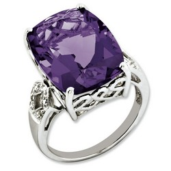Amethyst & Diamond Bold Ring 925 Sterling Silver 14x12mm 3.5gr 14.1ct