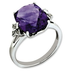 Amethyst & Diamond Engagement Ring 925 Silver 10x15mm 2.65gr 5.45ct