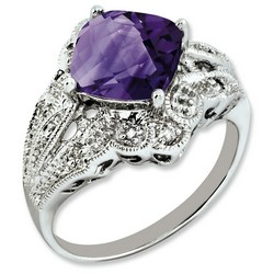 Amethyst & Diamond Cushion Cut Ring 925 Silver 10x10mm 3.9gr 3ct