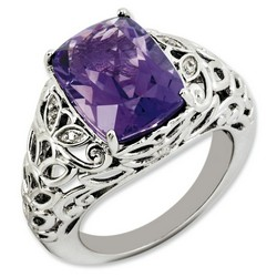 Amethyst & Diamond Cushion Cut Ring 925 Silver 12x10mm 6.25gr 6ct