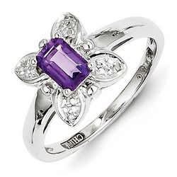 Amethyst & Diamond Butterfly Ring 925 Sterling Silver 9x8mm 2.78gr 0.59ct