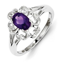 Amethyst & Diamond Blossom Ring 925 Sterling Silver 12x10mm 2.46gr 0.76ct